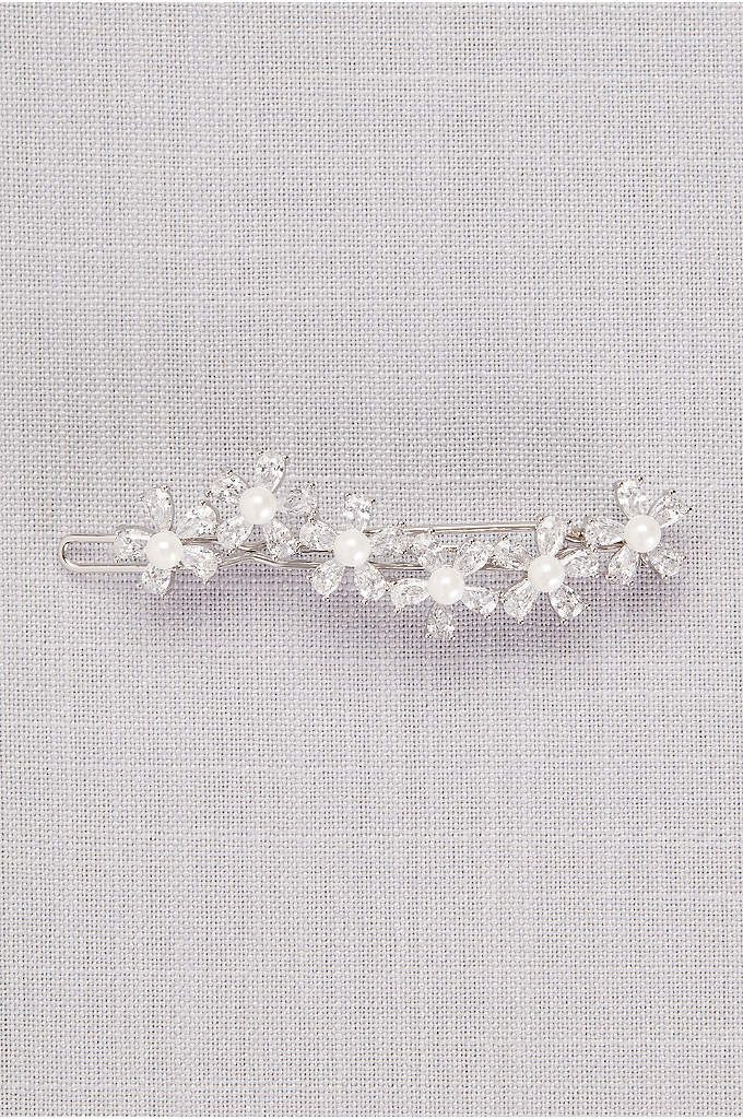 Cubic Zirconia and Pearl Flower Wave Hair Clip - Four cubic zirconia and pearl blossoms sparkle and