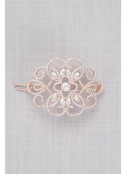 Cubic Zirconia Filigree Medallion Barrette - Swirling cubic zirconia-encrusted filigree adds drama to your