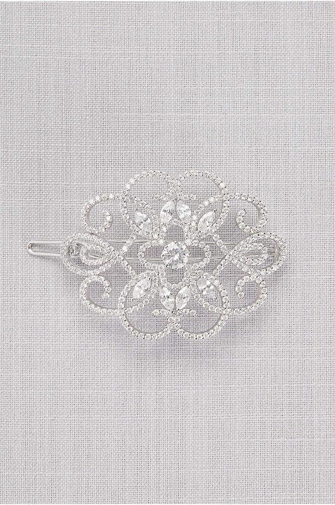 Cubic Zirconia Filigree Medallion Barrette - Swirling cubic zirconia-encrusted filigree adds drama to your
