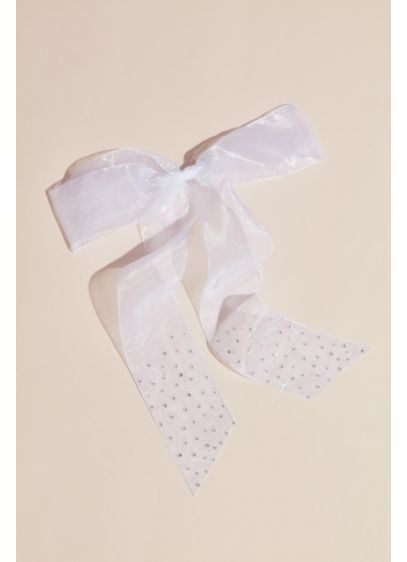 Organza Bow Barrette with Rhinestone Dots - Add a bridal touch to your hair with