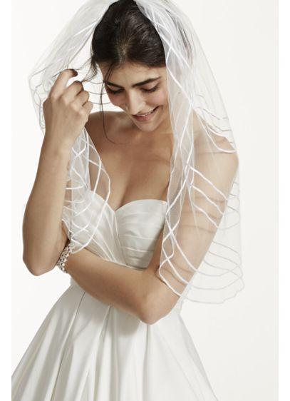 Horizontal Ribbon Striped Single Tier Mid Veil - Wedding Accessories