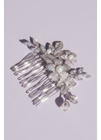 Cubic Zirconia and Pearl Embellished Floral Comb - This glamorous, opulent comb features clusters of blooming