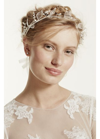 Mesh Leaf Halo with Organza Ties - Wedding Accessories
