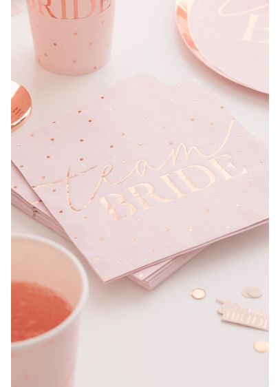 Rose Gold Foil Team Bride Paper Napkin Set - Rose gold polka dots add a dash of