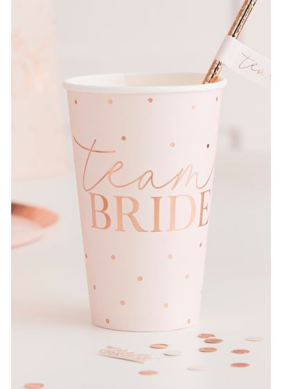 Pink (Rose Gold Foil Team Bride Paper Cup Set)