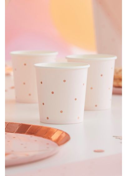 Rose Gold Foil Dotted Paper Shot Cups - Decked out with rose gold polka dots, this