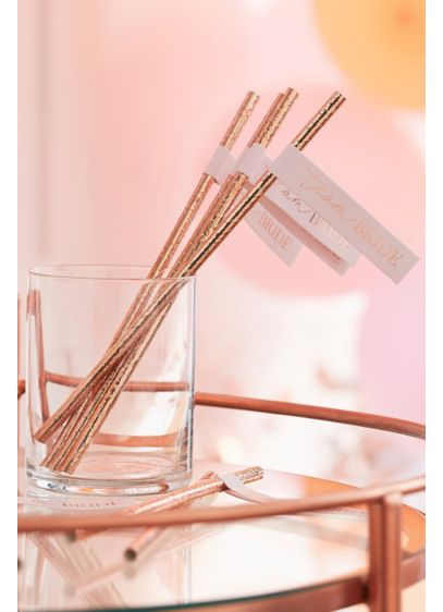 Metallic Team Bride Flag Straws - Sip your drinks in style with these rose-gold