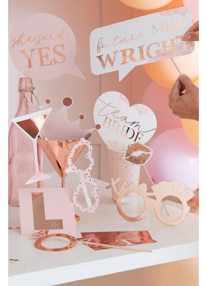 Metallic Customizable Photo Booth Props - Detailed with rose gold accents, this set of