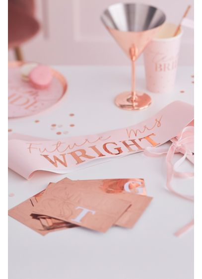 Customizable Metallic Sash - Ensure the beautiful bride-to-be celebrates in style at