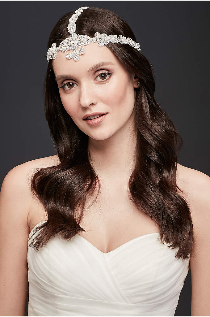 Beaded Mesh Goddess-Style Headband - Look like a goddess is this triple-panel headband,