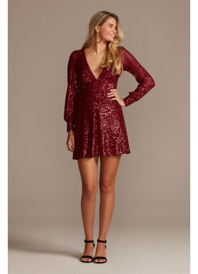 Long Sleeve Allover Sequin Mini with Plunging Neck - Capture everyone's attention in this plunging mini, featuring