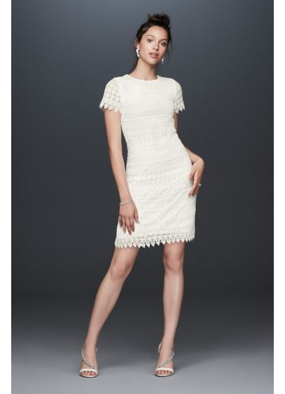 Illusion Short Sleeve Dress with Venice Lace Trim - Looking for a charming option for your bridal