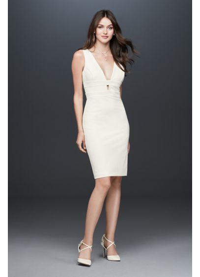 Banded Plunging-V Stretch Crepe Tank Dress - You'll be confident (and comfortable!) in this stretch-crepe,