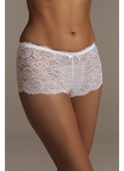 Floral Lace Scalloped Edge Boyshort with Bow - Delicate scalloped edges, a tiny bow detail, and