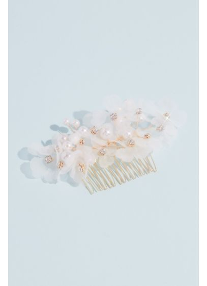 Organza Flower and Faux Pearl Comb - Wedding Accessories