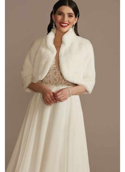 Faux Fur Open-Front Collared Jacket - Wedding Accessories