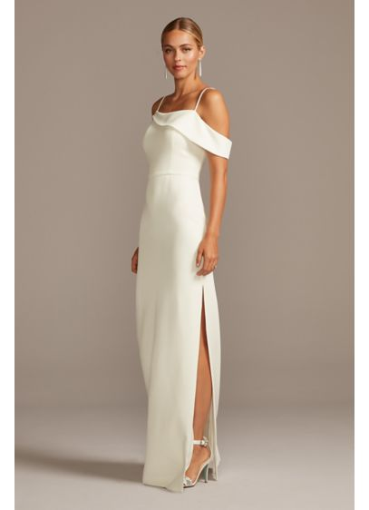 Asymmetric Off the Shoulder Sheath Dress - A simple, spaghetti strap sheath dress is revolutionized