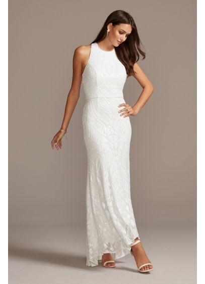Sequin Pattern High Low Plus Size Sheath Dress David S Bridal