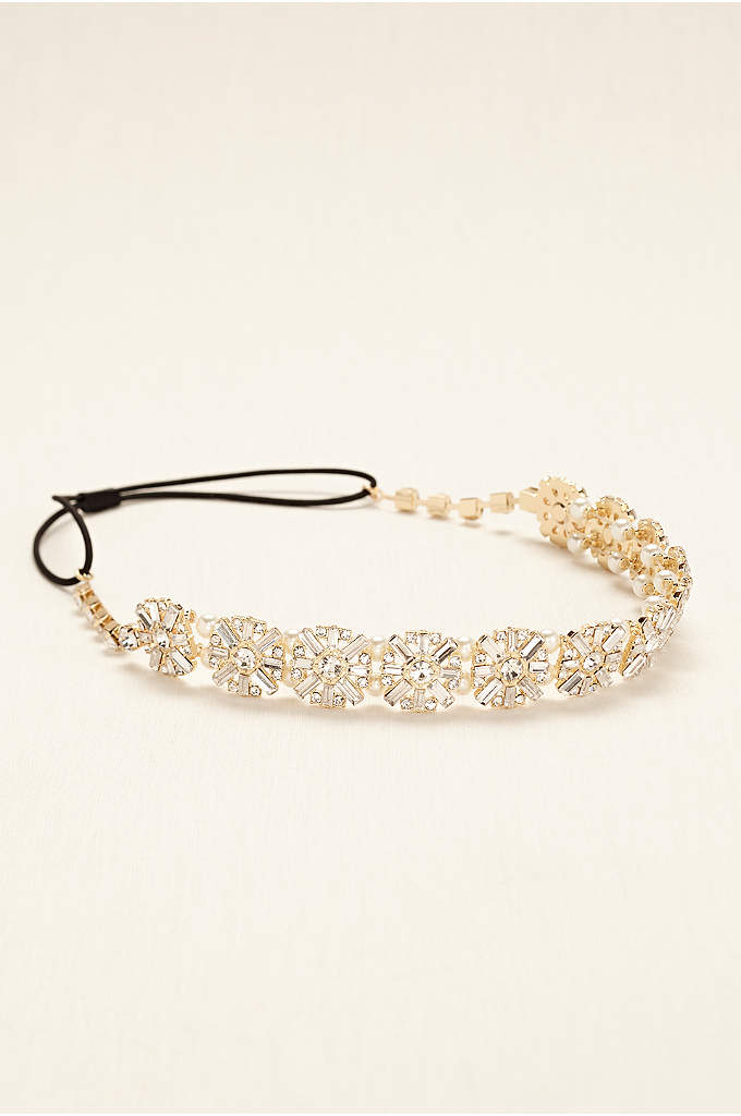 Headband with Crystal Baguettes and Pearls