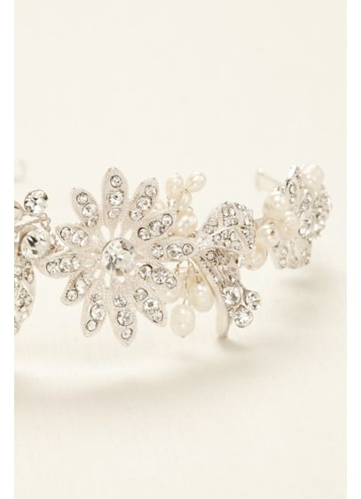 David's Bridal White (Floral Pave Rhinestone Side Motif Headband)