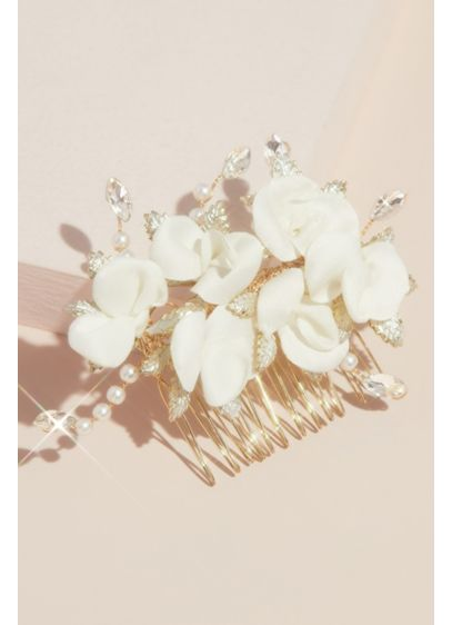 Fabric Petal Floral Comb with Crystals and Pearls - This elegant comb features charming floral blooms, crafted
