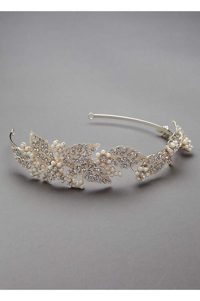 Crystal and Pearl Leaf Motif Headband