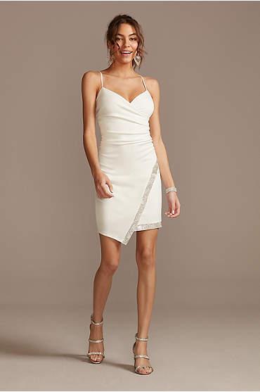 Stretch Mini Dress with Crystal Trim Overlap Skirt