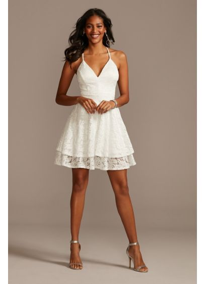 Glitter Lace Layered Hem Zippered Racerback Dress - This short glitter lace dress is full of