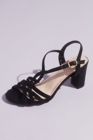 Black (Strappy Crystal Mid-Block Heels)