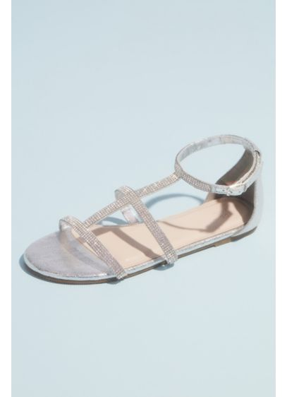 David's Bridal Grey (Micro Crystal Cage Flat Sandals)
