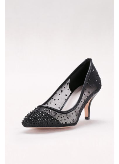 David's Bridal Black (Crystal-Studded Mesh Pointed-Toe Pumps)