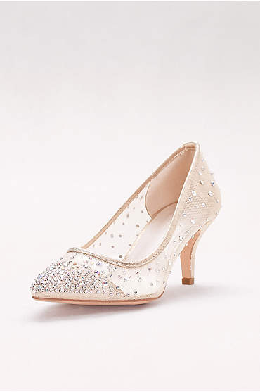 Mid-Heel Mesh Pointed-Toe Pumps