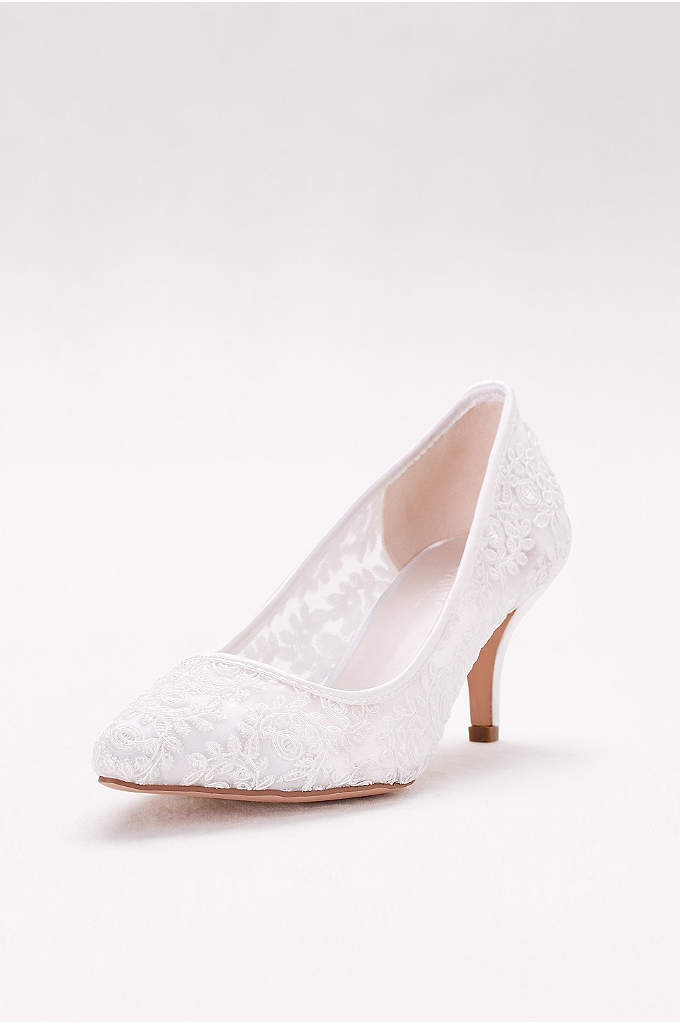 Embroidered Mesh Pointed-Toe Pumps