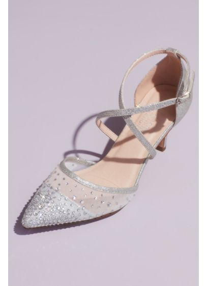 Glitter D'Orsay Crisscross Embellished Heels - Add classic glamour to your special occasion look