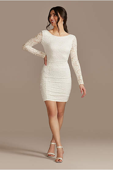 Short Lace High-Neck Long-Sleeve Sheath Dress