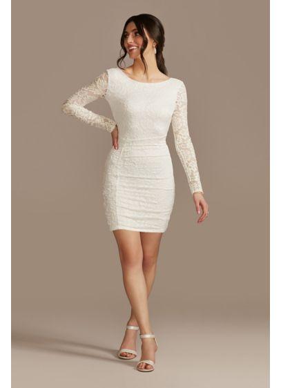 Short Sheath Long Sleeves Bridal Shower Dress - Emerald Sundae