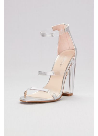 99e5e9ea906 Bamboo Grey (Metallic Triple-Strap Sandals with Clear Accents)