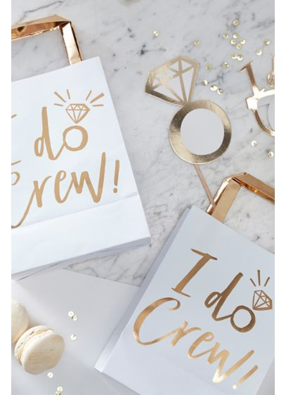 Gold I Do Crew Party Bags Set of 5 - Wedding Gifts & Decorations