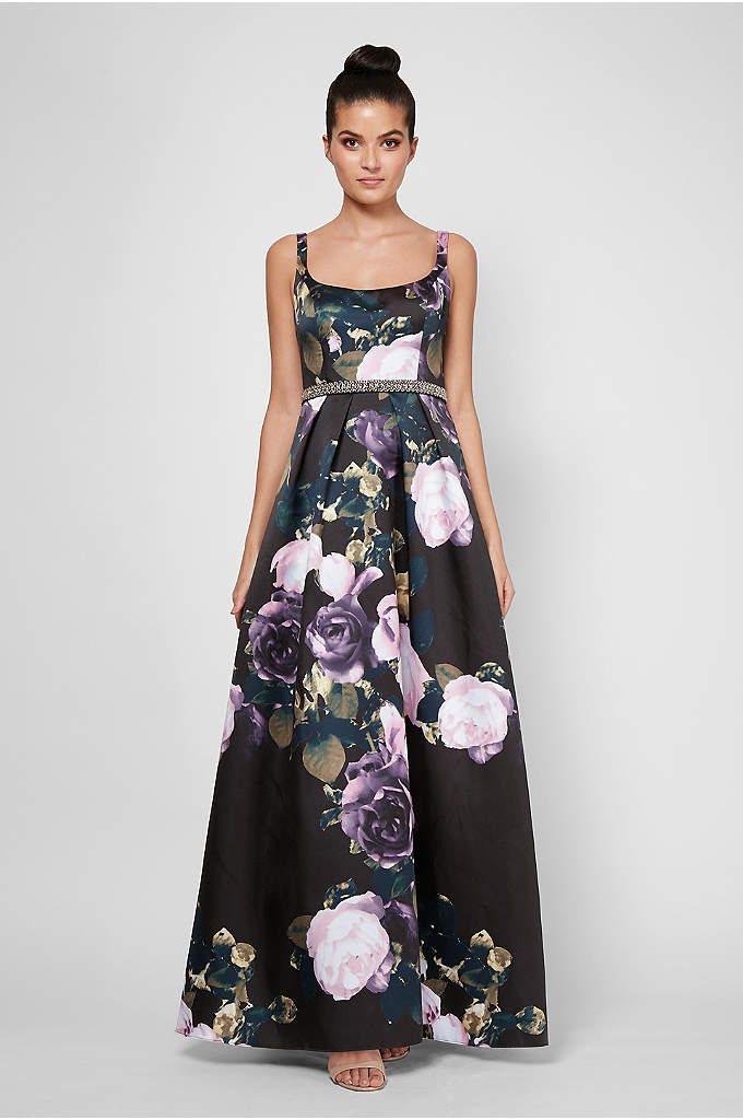 Printed Mikado Tank Ball Gown with Beaded Waist - Topped with slender tank straps, an embellished waistband,