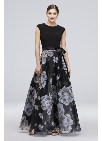 Cap Sleeve Floral Printed Ball Gown with Bow - An ultra-flattering solid cap-sleeve bodice provides beautiful contrast