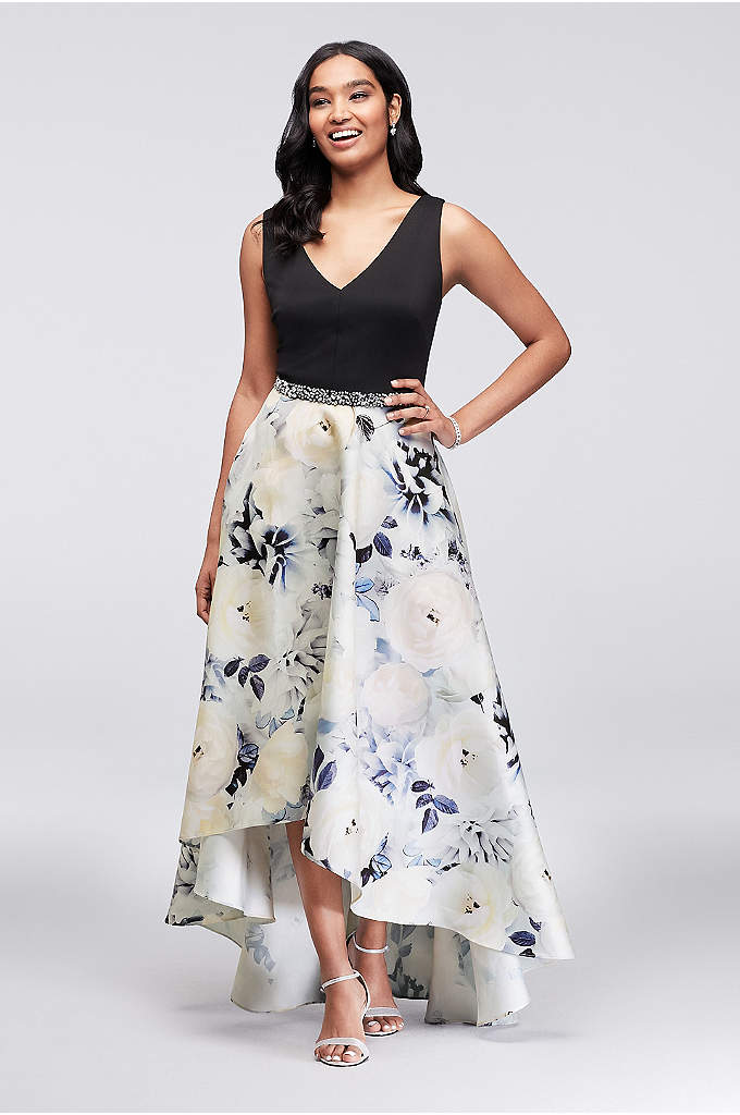 Crystal-Embellished V-Neck Mikado Ball Gown - Printed petals bloom on this ball gown's high-low