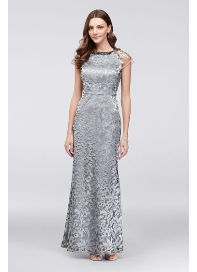f35e4f05 Metallic Lace Cap Sleeve Sheath with Neck Beading. IG3940. Long A-Line Cap  Sleeves Cocktail and Party Dress - Ignite
