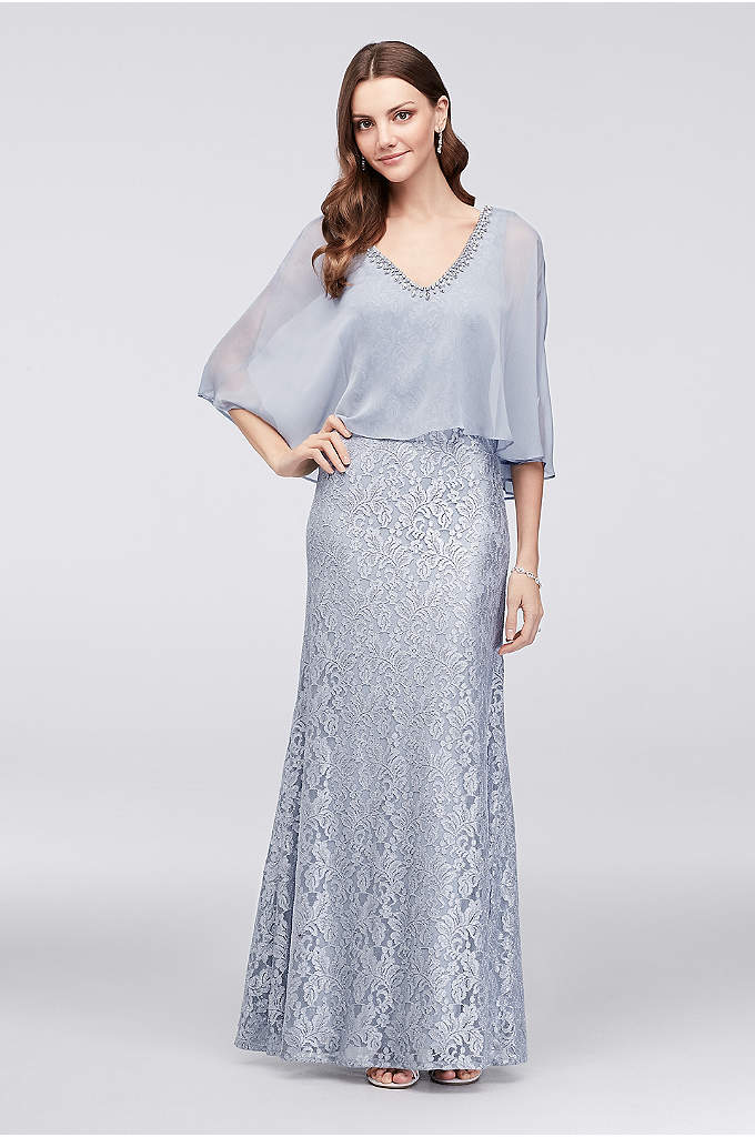 Shimmering Lace Tank Dress with Necklace Capelet - No accessories needed when you wear this metallic