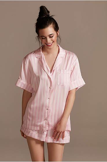 Striped Button-Front Pajama Shorts Set