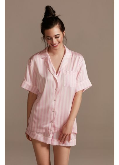 Striped Button-Front Pajama Shorts Set - Wedding Gifts & Decorations