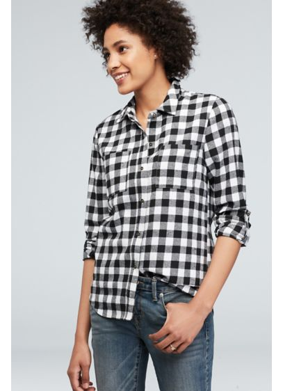 Flannel Check Bride Button-Down Sleep Shirt - Show off your bride pride in this checked