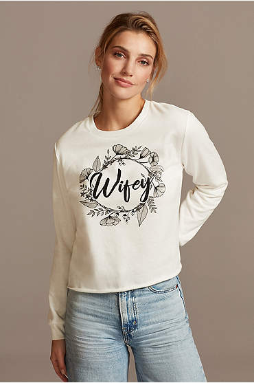 Floral Wifey Script Long Sleeve Crop Sweatshirt