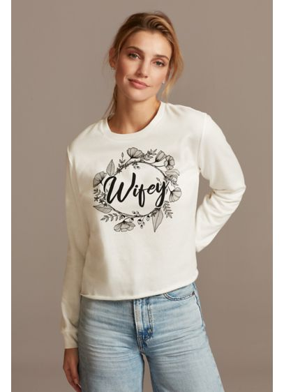 Floral Wifey Script Long Sleeve Crop Sweatshirt - Perfect for a cold-weather honeymoon or a cozy