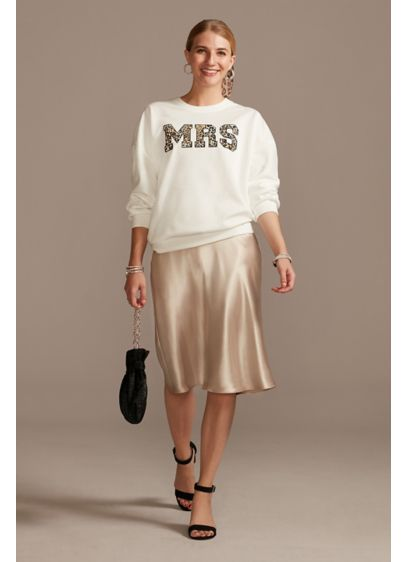 Mrs Leopard Print Crew Neck Sweatshirt - A must-have for the bride with cat-itude, this