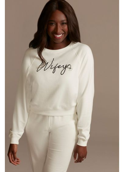Cropped Wifey Ivory Sweatshirt - Look cute, comfy, and committed (LOL) in this